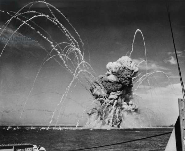 Liberty Ship SS Rowan explodes after being hit by a German bomb, near Gela, Sicily on July 11, 1943. The 400 U.S. sailors, crewmen and soldiers from the U.S. Seventh Army had time of abandon the ship prior to the explosion. July 11, 1943, Allied invasion of Sicily, World War 2