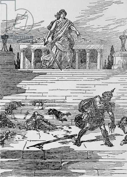 Anti-German cartoon following the Lusitania sinking. 1915