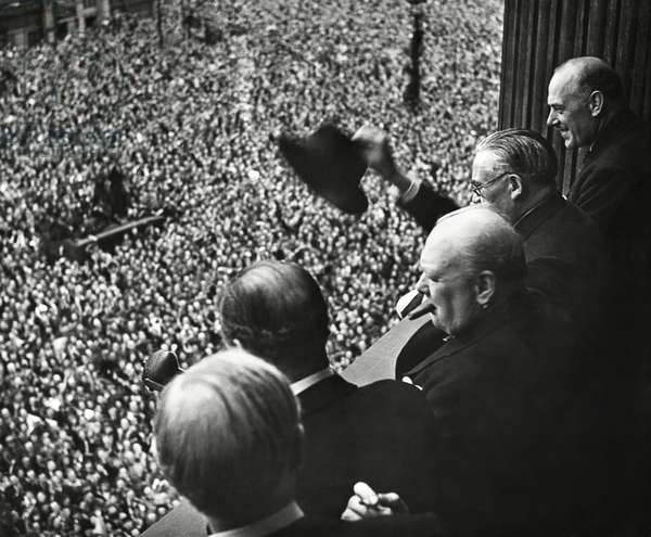 Winston Churchill addressing the crowd at Whitehall during the Victory in Europe celebration. May 8, 1948.