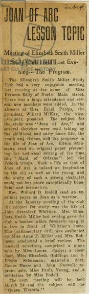 Newsclipping about Joan of Arc, 'Joan of Arc Lesson Topic', Elizabeth Smith Miller Study Club, from the Miller NAWSA Suffrage Scrapbooks, Scrapbook 6, page 44, 1897-1911