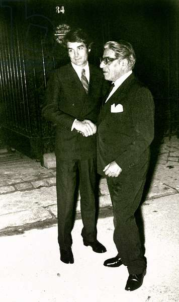 ARISTOTLE ONASSIS, with Kim Rochas, after his second 'soiree' with Maria Callas at their home in Paris France, 1957