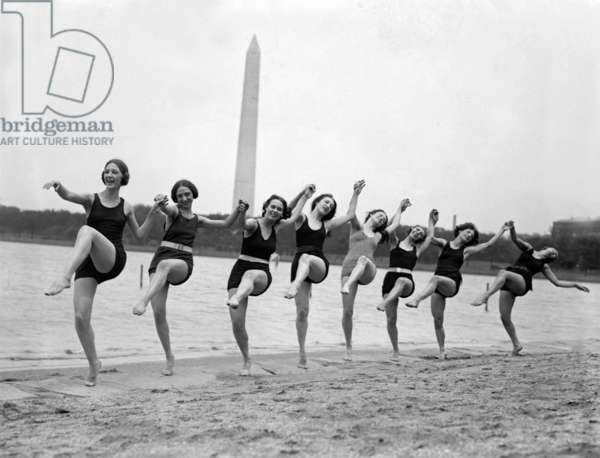 Marion Morgan dancers on a Washington, D.C. Beach in 1923. They popular vaudeville troop performed ballets based on classical legends
