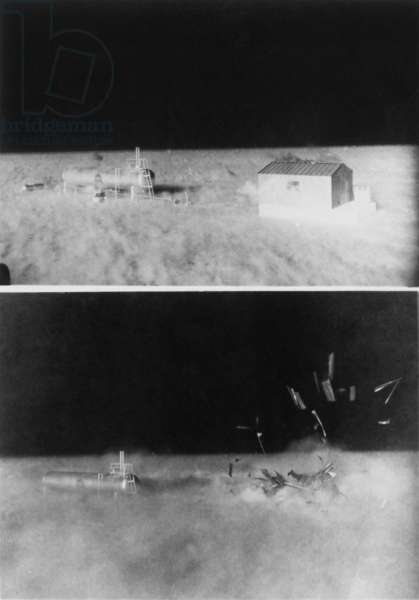 Nuclear 'Operation Cue' tested structures' ability to survive atomic bombs. Bottom image shows a disintegrating shed beside liquefied petroleum tank as blast wave hits. April 4, 1955