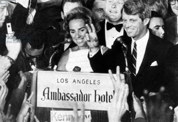 Ethel Kennedy, Senator Robert F. Kennedy, at the Ambassador Hotel just before he was assassinated, Los Angeles, California, June 5, 1968.