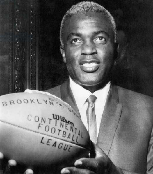 Jackie Robinson as general manager for Continental Football League's Brooklyn Dodgers, c.mid-1960s