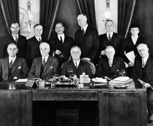 FDR Presidency. US President Franklin Delano Roosevelt with first cabinet, 1933