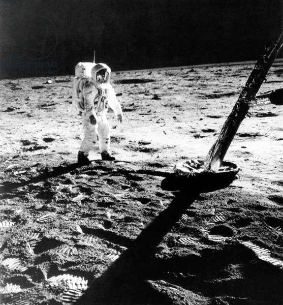 Astronaut Edwin E. Aldrin (aka Buzz Aldrin), on the moon, in a photograph taken by Neil Armstrong, 1969.
