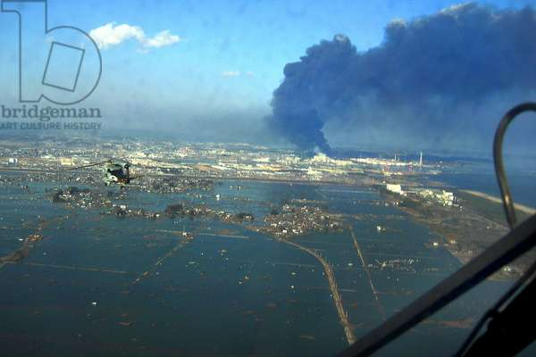 View of destroyed Sendai Japan on March 13 2011 two days after the 9.0 magnitude earthquake and tsunami of March 11.,