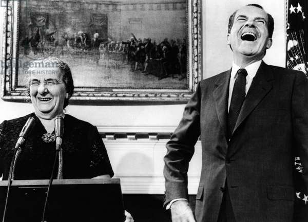 Israeli Prime Minister Golda Meir and President Richard Nixon meet with the press in the Roosevelt Room of the White House. Sept. 26, 1969
