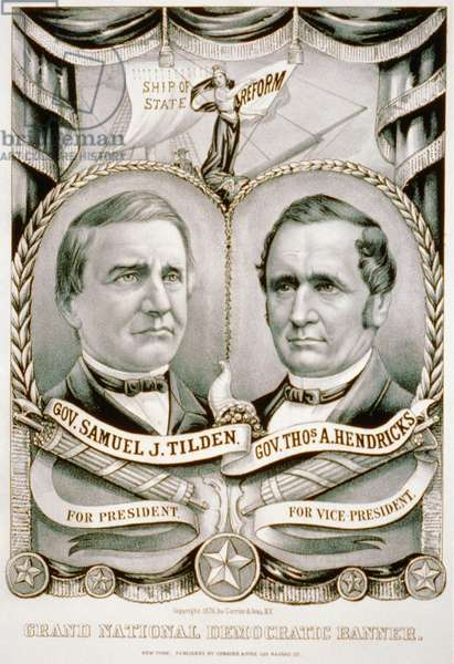 1876 Grand National Democratic banner with candidates Samuel J. Tilden and Thomas A. Hendricks. The Tilden-Hendricks banner, states their campaign theme of federal reform