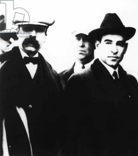 The last public appearance in 1927 of the Sacco and Vanzetti. The two Italian anarchists were entering the penitentiary in Charlestown, Massachusetts, where they were executed for burglary and murder on August 23, 1927. -