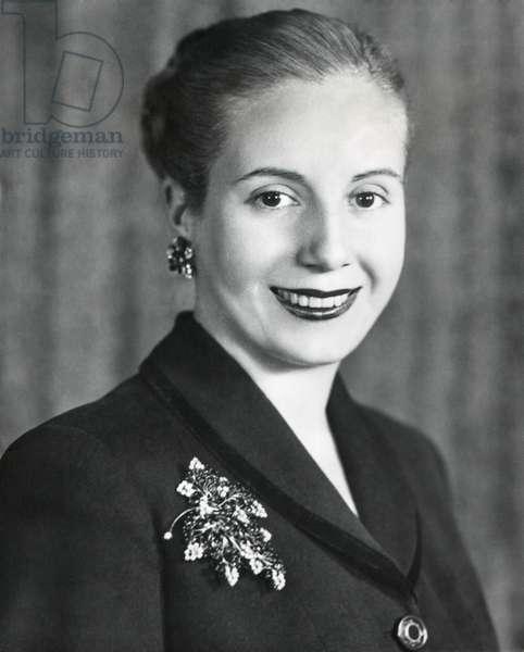 Eva Duarte de Peron, wife of Argentine President Juan Domingo Peron. June 1948.