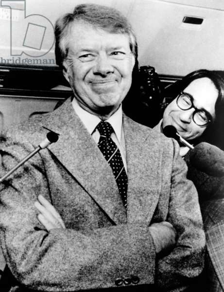 President Jimmy Carter talking with reporters. Jan. 24, 1977