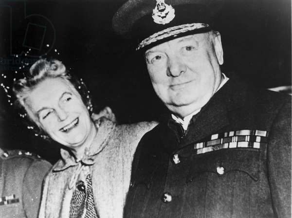 Winston Churchill with wife Clementine, undated photo