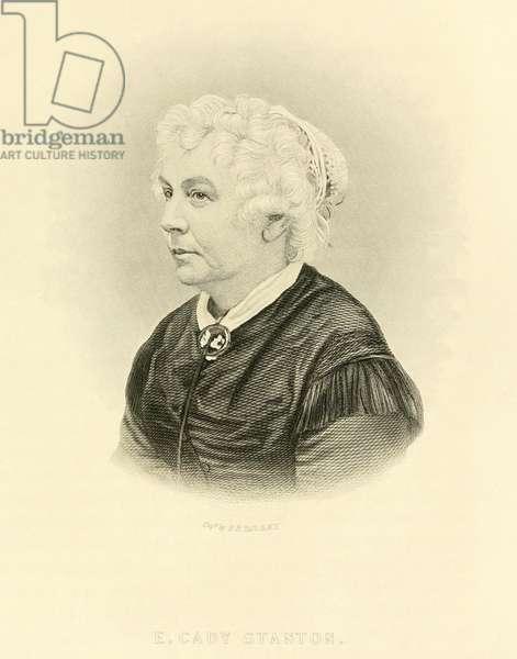 Elizabeth Cady Stanton (1815-1902), American women's rights leader. Engraving c. 1865