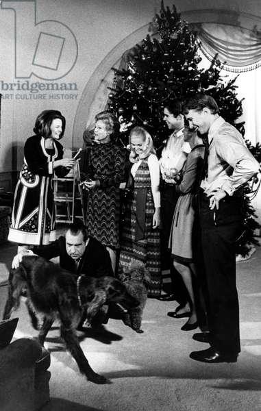 President Richard Nixon and family, Reporter, Marya McLaughlin interviews Mrs. Nixon. White House, 12-20-1971.