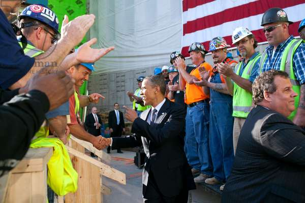 President Obama and Governor Chris Christie, greet workers at One World Trade Center site. June 14, 2012