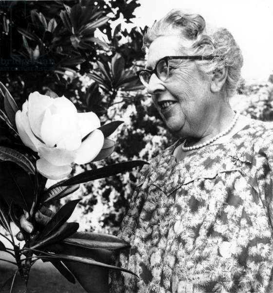 Agatha Christie (1890-1976) British mystery writer in Sept, 1959