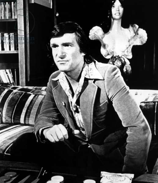 Hugh Hefner, editor-publisher of Playboy Magazine, ca 1975.