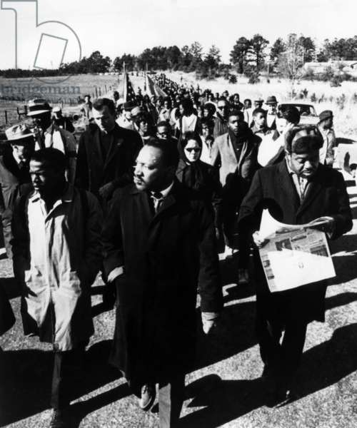 Dr. Martin Luther King Jr. (center, front), leading the 54 Mile March in Alabama, 1965.