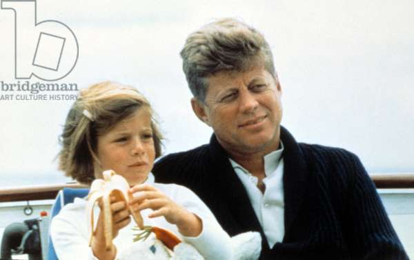 President John F. Kennedy withdaughter Caroline Kennedy at Hyannisport, Mass., July, 1963