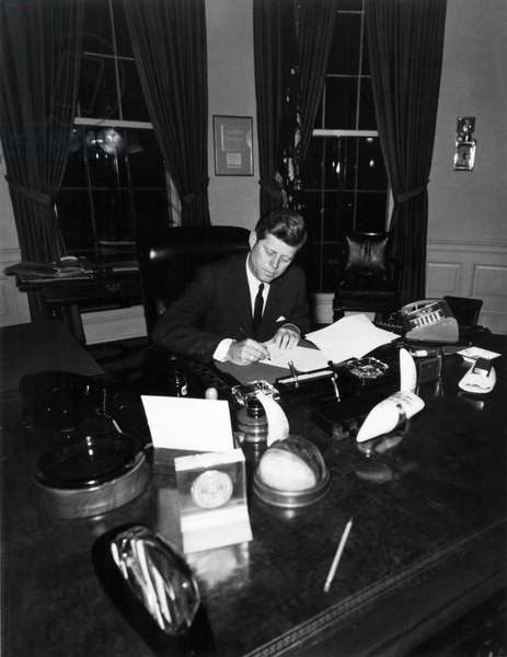 President John F Kennedy in the Oval Office during the Cuban Missile Crisis, 1961