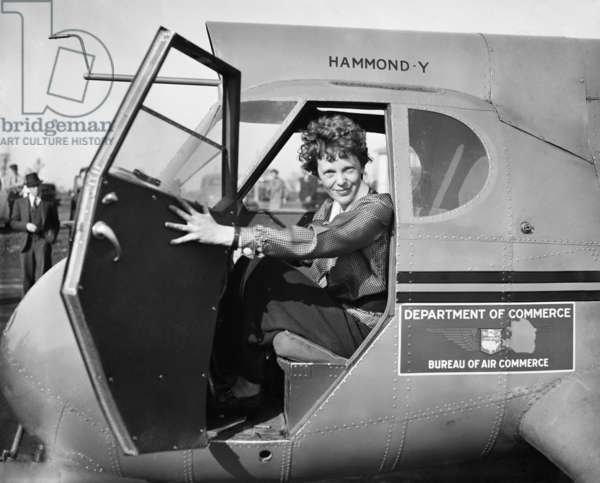 Amelia Earhart in Department of Commerce airplane, 1936