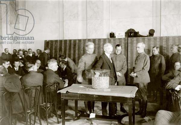 World War I, Vice President Thomas R. Marshall (blindfolded), who served under President Woodrow Wilson from 1913-1921, drawing a draft capsule, c.1918