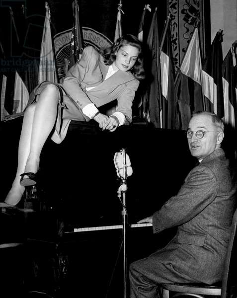 Lauren Bacall, Vice President Harry Truman at the National Press Club Canteen in Washington, D.C., 2/10/45