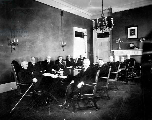 President Woodrow Wilson (left), and his cabinet (l-r): David F. Houston, A. Mitchell Palmer, Josephus Daniels, Edwin T. Meredith, William B. Wilson, Bainbridge Colby, Newton D. Baker, Albert S. Burleson, John B. Payne, Joshua W. Alexander, February 15, 1921