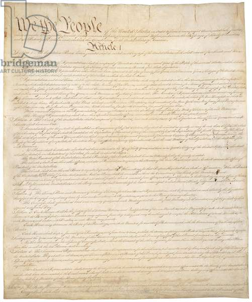 Constitution of the United States of Americ. First of four pages of the National Archives copy created in the Constitutional Convention in 1787
