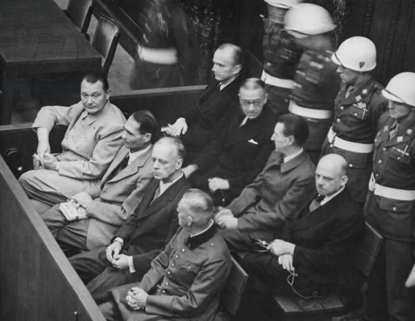 Herman Goering, Rudolf Hess, Joachim von Ribbentrop, and Wilhelm Keitel in the dock at Nuremberg. Nov. 1945-Oct. 1946