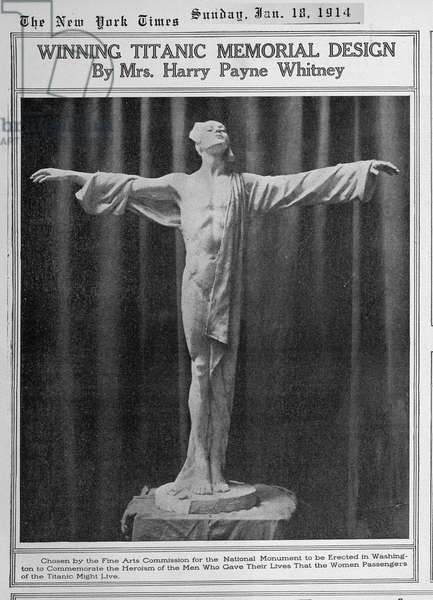 TITANIC: New York Times article featuring 'Winning Titanic Memorial Design by Mrs. Harry Payne Whitney. To be erected in Washington to commemorate the men who gave their lives so that female passengers could escape, Sunday, January 18, 1914