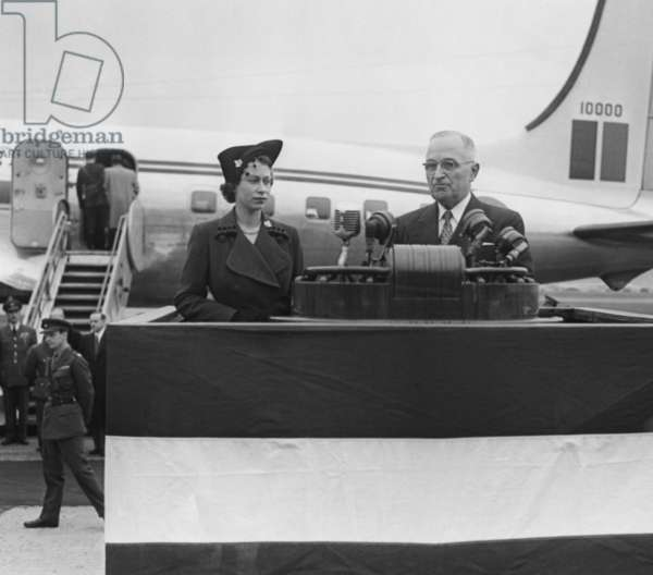 President Harry Truman welcomes Princess Elizabeth at Washington's National Airport. Oct. 31, 1951.