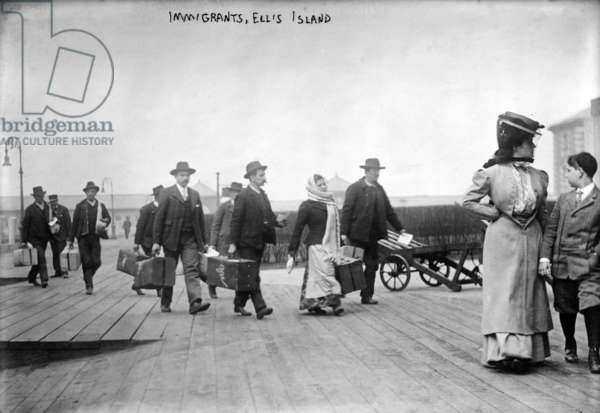European immigrants arriving at Ellis Island, c. 1907