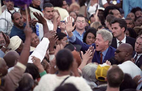 President Bill Clinton at a 'Get Out the Vote' Rally in Los Angeles, c. Five days before the 2000 National Election, Clinton works a crowd in support of his Vice President, Al Gore, who was opposed by Republican George W. Bush