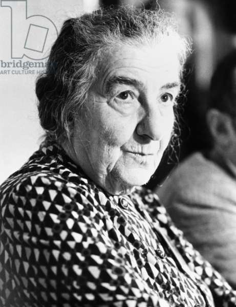 Golda Meir, former Israeli Prime Minister attending World Conference on Soviet Jewry. Brussels, Belgium, March 2, 1976. In 1956 she Hebraized her last name, shortening it from 'Meyerson' to 'Meir'