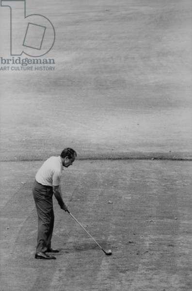 Richard Nixon playing golf. Aug. 26 1970