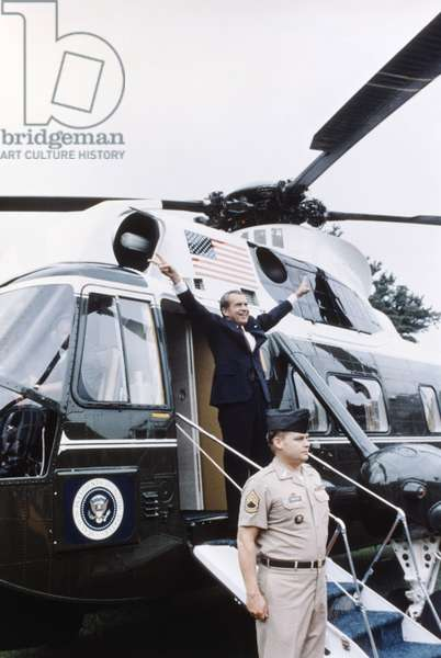 Former President Richard Nixon boards the Presdential helicopter for the last time, Washington, D.C., August, 1974
