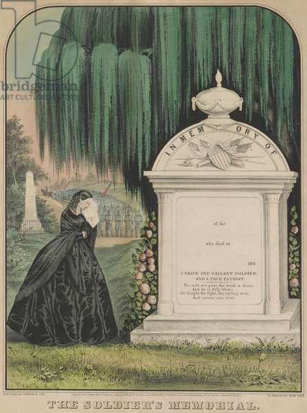 US Civil War memorial print depicting a young women mourning at tomb of Civil War soldier. The print has blank lines for the soldier name, place and date of death, above a tribute to 'A Brave and Gallant Soldier, and a True Patriot'. Soldiers in formation with American flags are in the background (lithograph)