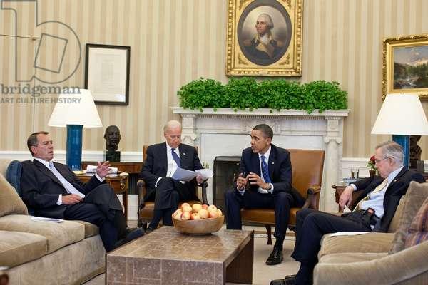 President Obama and VP Joe Biden meet with House Speaker John Boehner and Senate Majority Leader Harry Reid in budget negotiations. April 7 2011. (BSWH_2011_8_338)