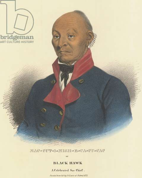 Sauk Chief Black Hawk in a portrait painted from life in Detroit, 1833, by J.O. Lewis. The previous year he led the war faction of his tribe in the 'Black Hawk War', April 6-August 27, 1832. Black Hawk's fought for to resettle his tribe on land that had been ceded to the United States in the disputed 1804 Treaty of St. Louis (lithograph)