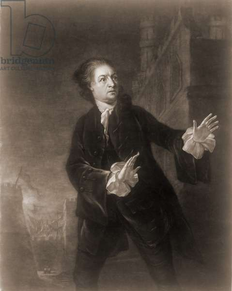 David Garrick (1717-1779), English actor, playwright, and producer in the role of Hamlet, Act 1, Scene 4. 1754 engraving