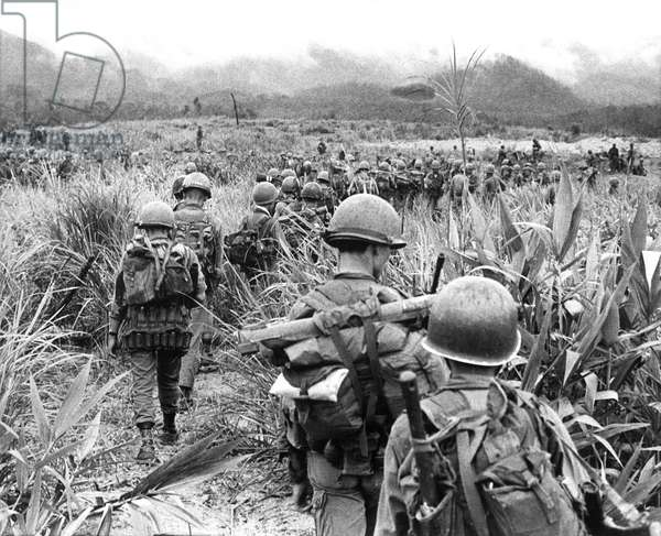 Vietnam War, Troopers of the 327th Infantry of the U.S. 101st Air Cavalry Division patroling near the Laotian border during 'Operation Summerset Plain', Vietnam, 08-14-68