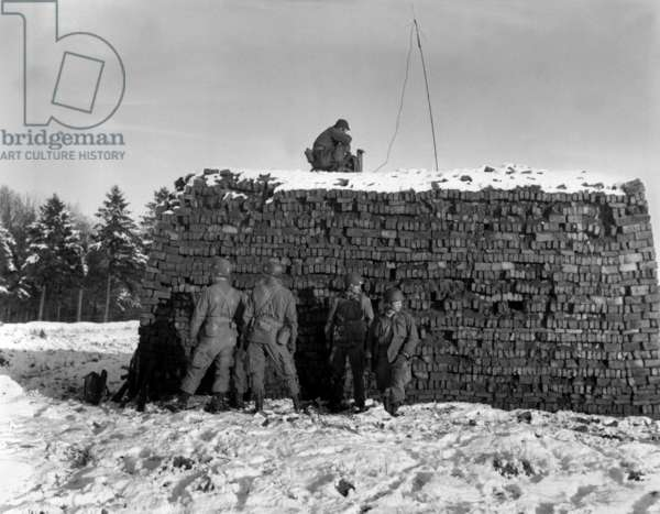 U.S. radar equipment on a pile of bricks during the Battle of the Bulge. It was used to guide supply planes to Bastogne, which was under a German siege. Dec. 23, 1944, World War 2