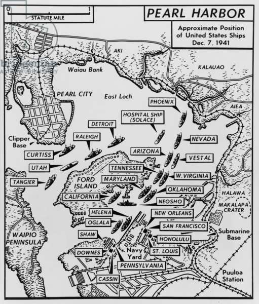 Map of Pearl Harbor with location of ships just prior to the Japanese attack on Dec. 7, 1941