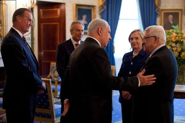 Palestinian-Israeli talks at the White House. Sept. 1 2010. L to R James Jones Tony Blair Benjamin Netanyahu Hillary Clinton Mahmoud Abbas. (BSWH_2011_8_257)