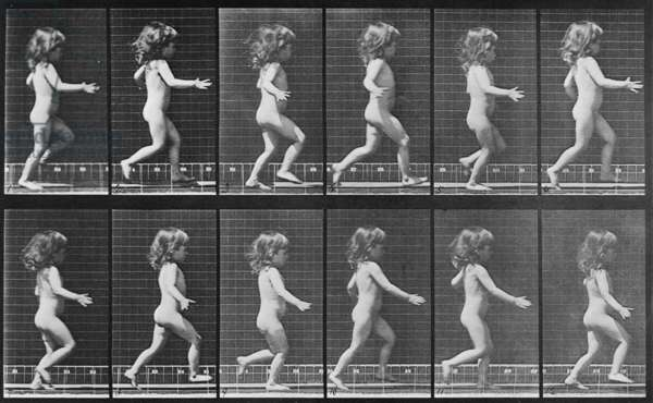 Consecutive images of a little nude girl running. From Eadweard Muybridge's, ANIMAL LOCOMOTION, 1887