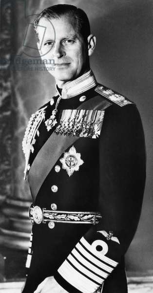 British Royalty. Duke of Edinburgh Prince Philip, in full dress uniform of Admiral of the Fleet, 1961