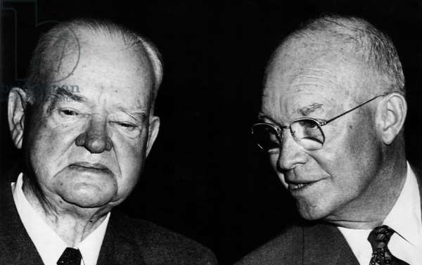 Former President Herbert Hoover, and President Dwight D. Eisenhower, at a lunch in honor of Hoover, February 4, 1957